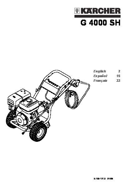 Kärcher G 4000 SH Gasoline High Pressure Washer Owners Manual