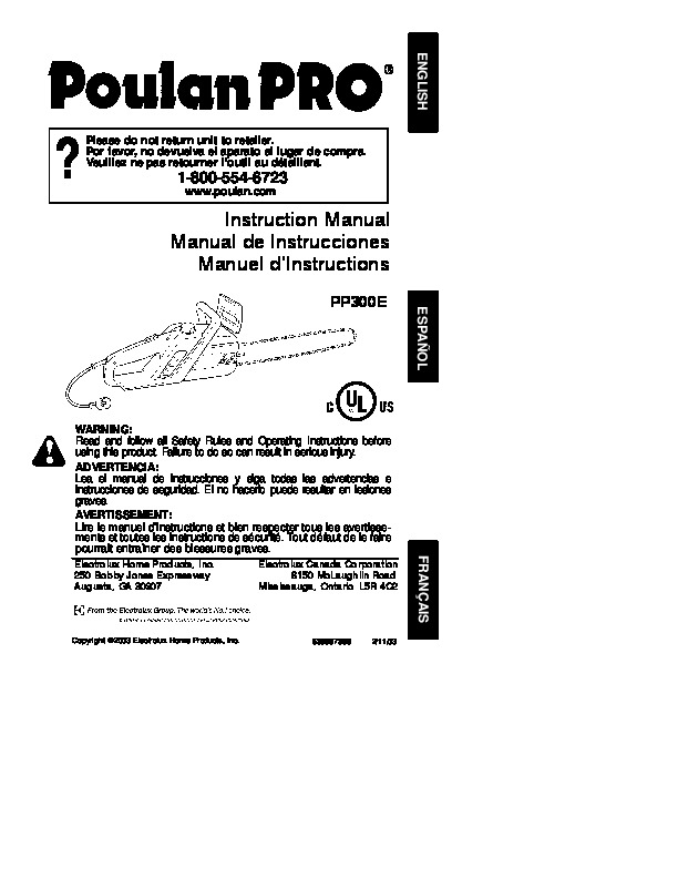 Poulan Pro PP300E Chainsaw Owners Manual, 2003