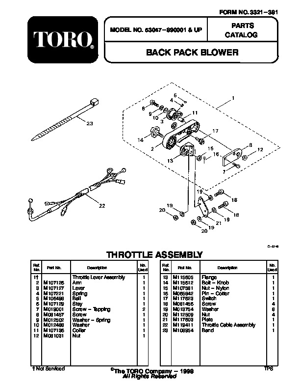 Toro 53047 BP 6900 Back Pack Blower Manual, 1998