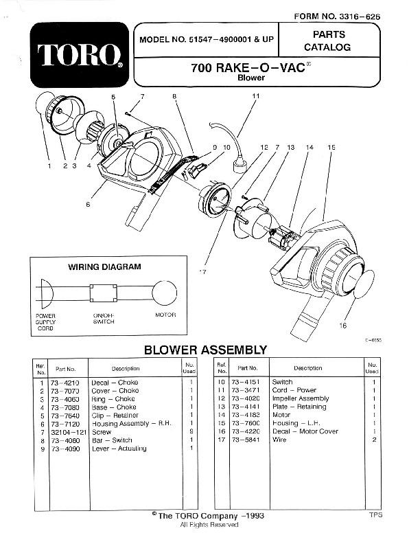 Toro 51547 700 Rake-O-Vac Manual, 1994