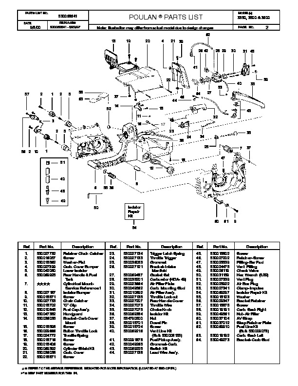 Poulan 3350 3500 3600 Chainsaw Parts List, 2000