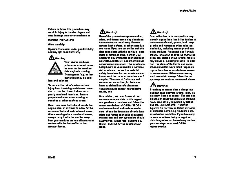 STIHL BG 45 Blower Owners Manual