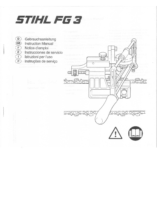 STIHL FG3 Chainsaw Filing Unit Owners Manual