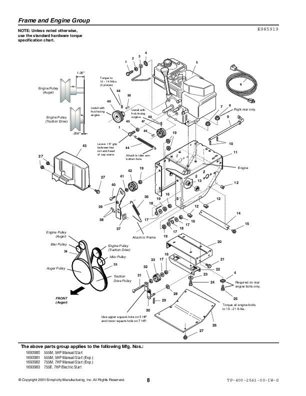 kubota v2203 engine parts list