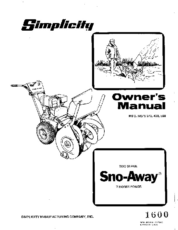 Simplicity 372 430 560 Snow Away Snow Blower Owners Manual