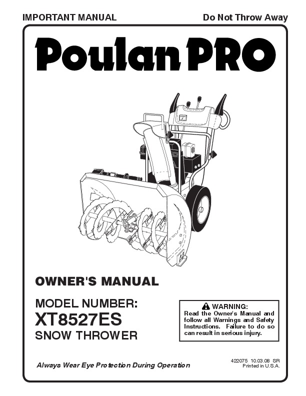 Poulan Pro XT8527ES 422075 Snow Blower Owners Manual, 2008