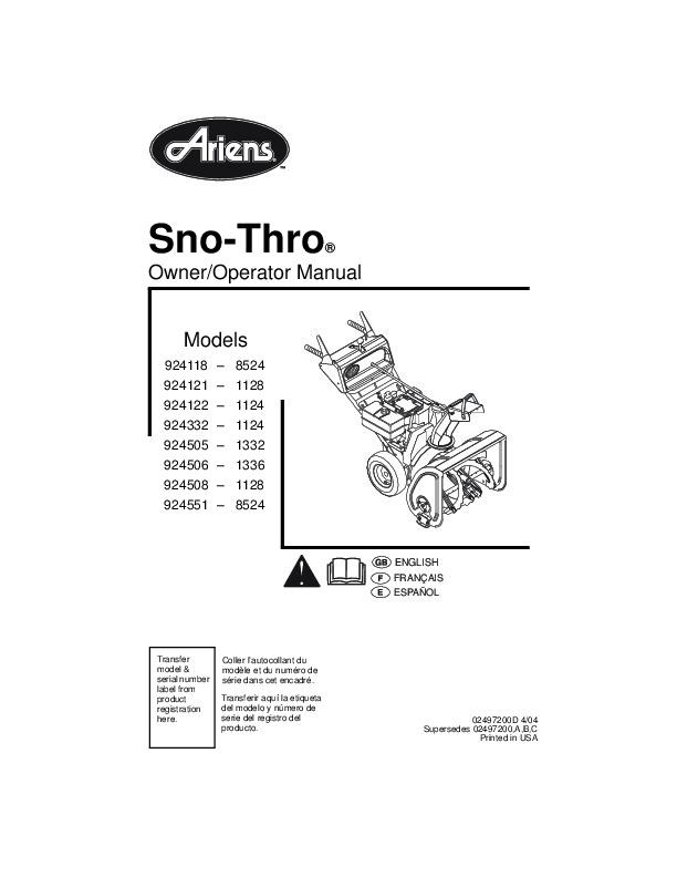 Ariens Sno Thro 924118 21 22 32 05 06 08 51 Snow Blower