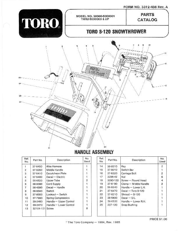 Toro 38000 S-120 Snowblower Manual, 1985-1986