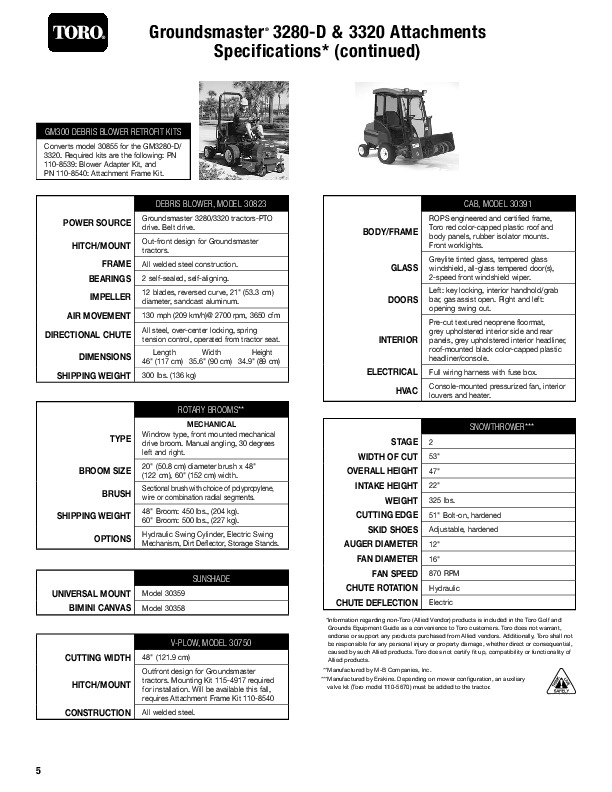 Toro Groundsmaster 3280 D 3320 3280 D 4WD Specs