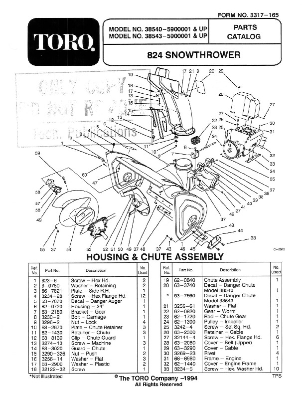Toro 824 1028 Power Shift 38543 38555 Snow Blower Owners