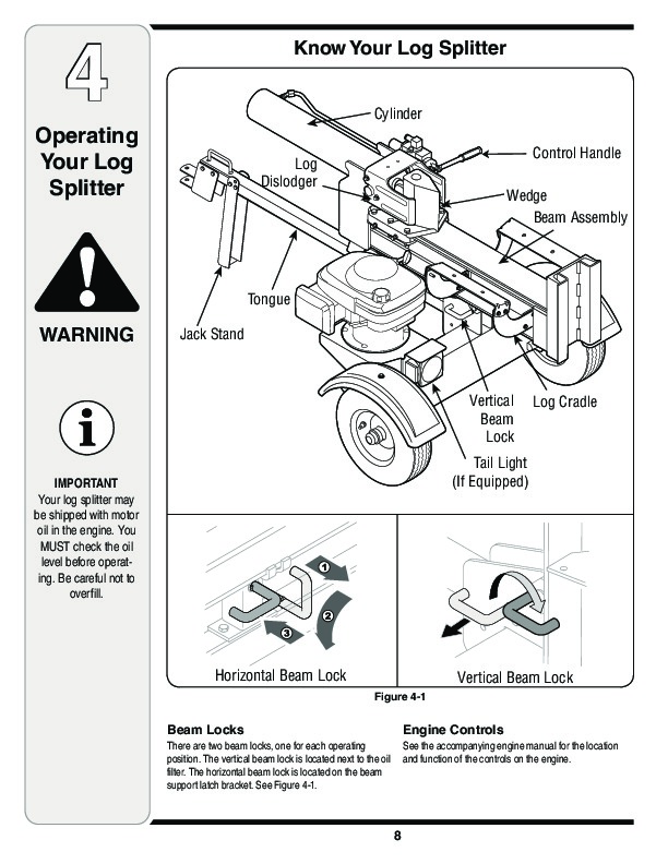 MTD 500 Series Log Splitter Lawn Mower Owners Manual