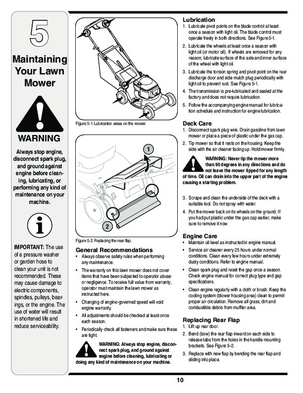 MTD 830 Series 21 Inch Rotary Mower Lawn Mower Owners Manual