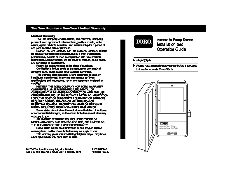 Toro Thero Promise Irrigation Owners Manual
