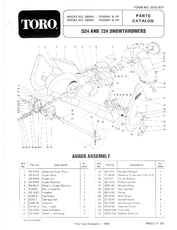 Toro 524 724 824 38040 38050 38080 Snow Blower Owners