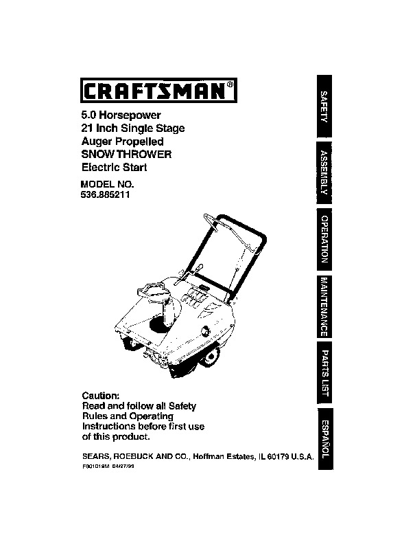 Craftsman 536.885211 21-Inch Snow Blower Owners Manual