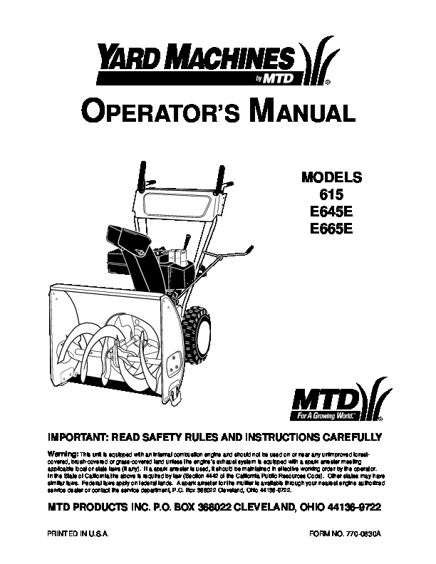 MTD Yard Machines 615 E645E E665E Snow Blower Owners Manual