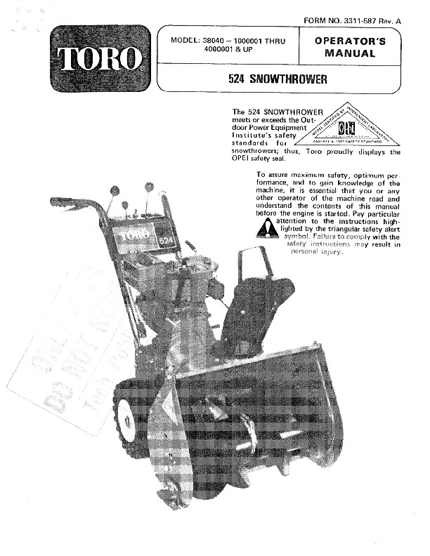 Toro 38040 524 Snowblower Manual, 1981, 1984