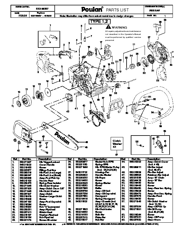 Poulan P3818AV Chainsaw Parts List, 2008