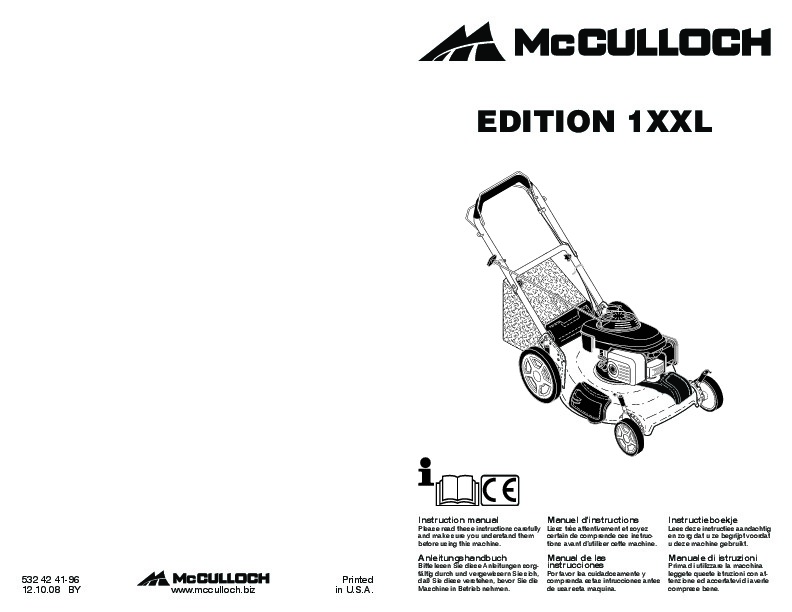 McCulloch EDITION 1XXL Lawn Mower Owners Manual, 2008