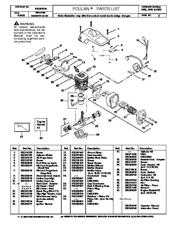 2000 Poulan 2250 2450 2550 Chainsaw Parts List Manual
