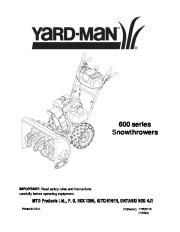 MTD Yard Man 600 Series Snow Blower Owners Manual