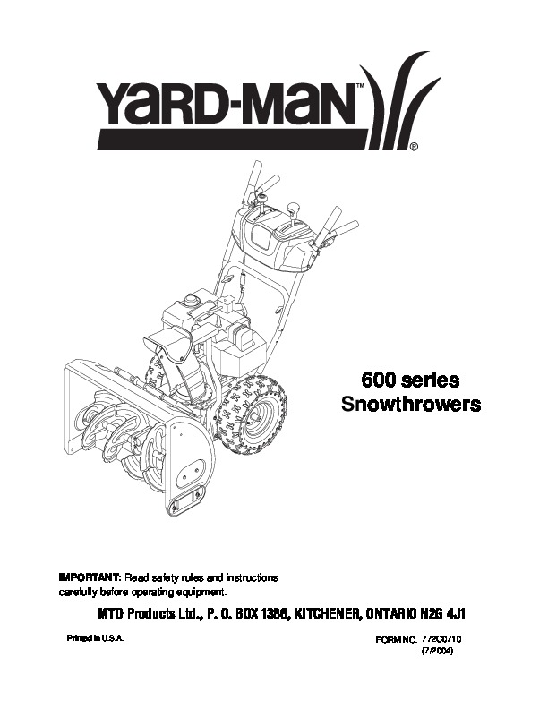 MTD Yard Man 600 Series Snow Blower Owners Manual