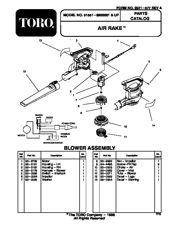 Toro 51551 Air Rake, Australia Manual, 1999