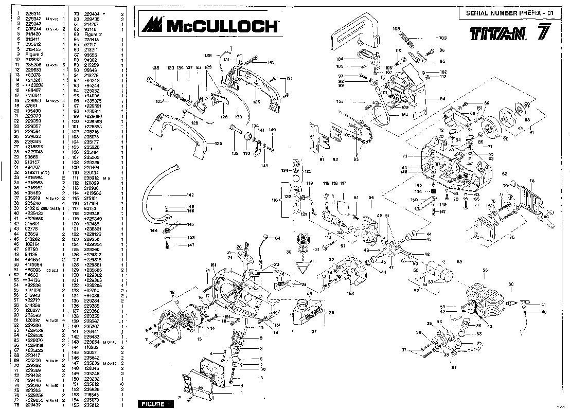 McCulloch Titan 7 Chainsaw Service Parts List