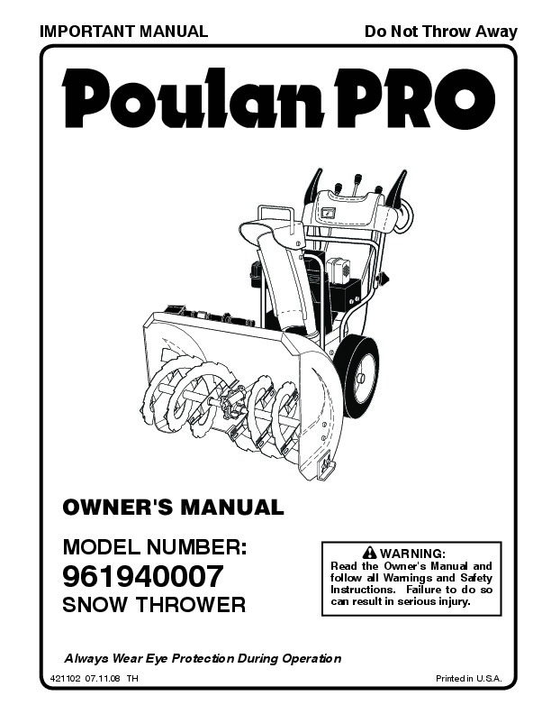Poulan Pro 961940007 421102 Snow Blower Owners Manual, 2008