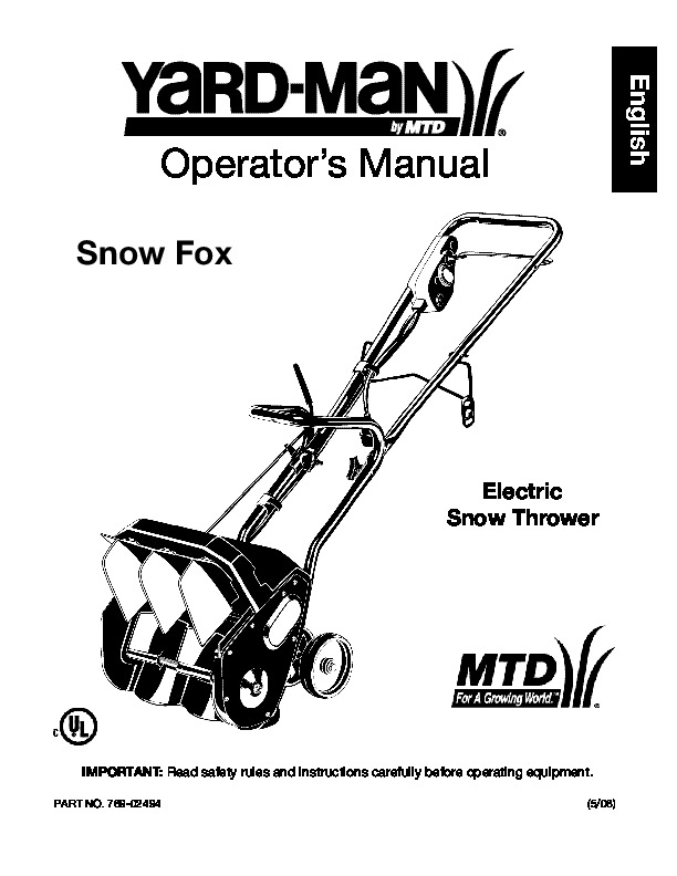 MTD Yard Man 769-02494 Electric Snow Blower Owners Manual