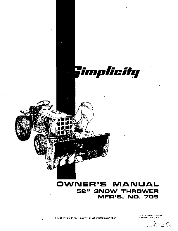 Simplicity 709 52 Snow Blower Owners Manual