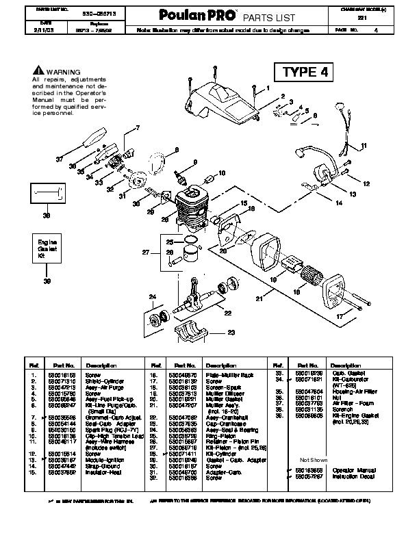 Poulan Pro 221 Chainsaw Parts List, 2003