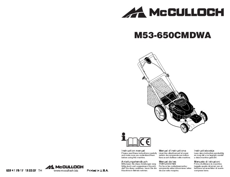 2008 McCulloch M53 650 CMDWA Lawn Mower Owners Manual