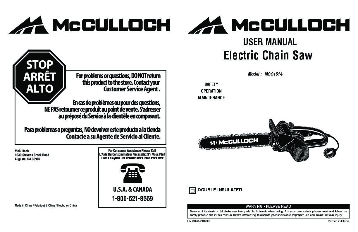McCulloch MCC1514 Electric Chainsaw Owners Manual, 2006
