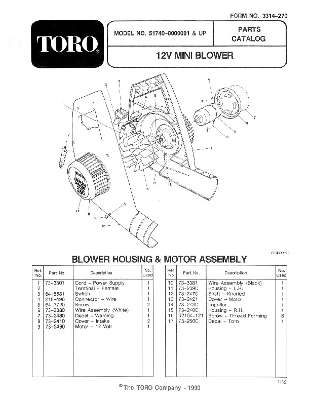 Toro 51740 Mini Blower Manual, 1991
