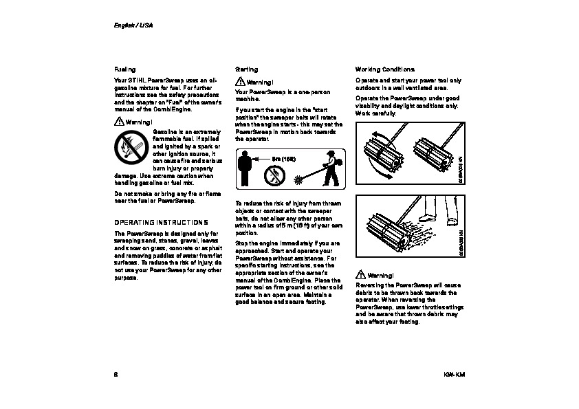 STIHL KW KM Kombi System Cultivator Owners Manual