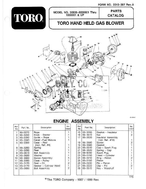 Toro 30935 20cc Hand Held Blower Manual, 1992