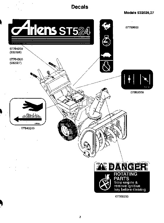 Ariens Sno Thro 932 Series Snow Blower Parts Manual