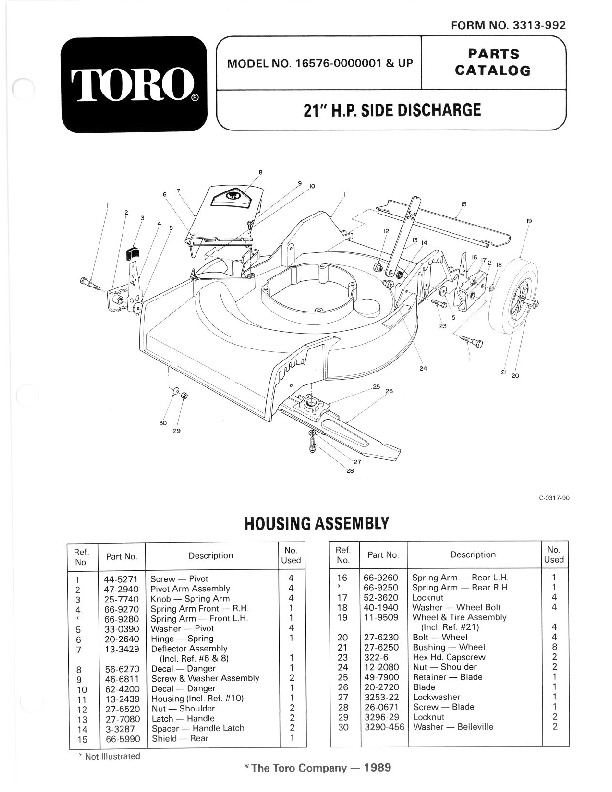 Toro 16576 16776 21-Inch Lawn Mower Owners Manual, 1990