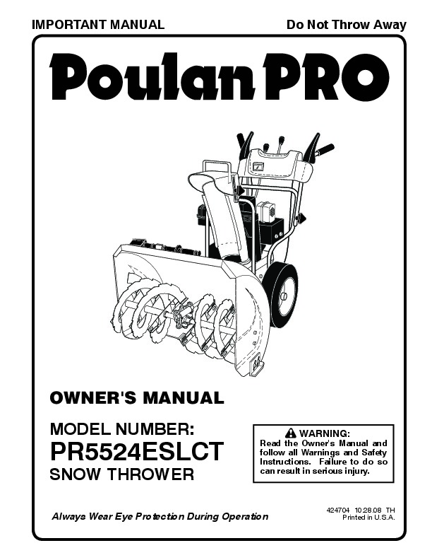 Poulan Pro PR5524ESLCT 424704 Snow Blower Owners Manual, 2008