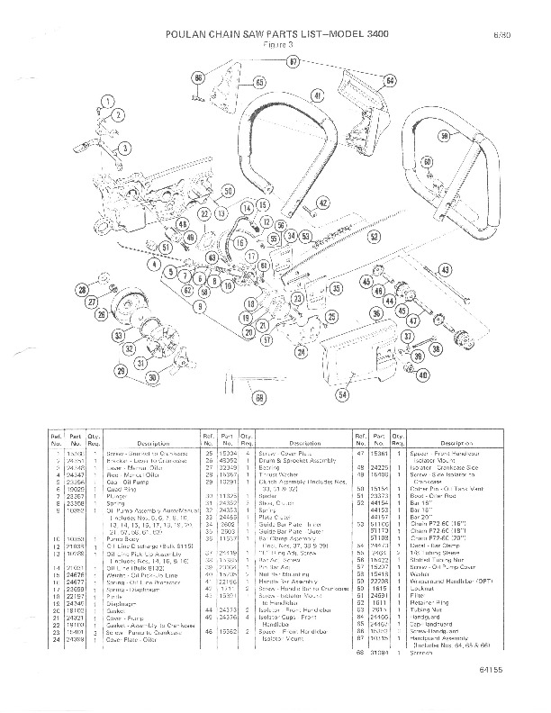 Poulan 3400 Chainsaw Parts List, 1980