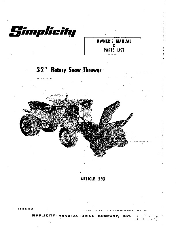 Simplicity 293 Snow Blower Owners Parts Manual