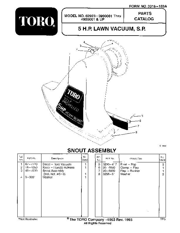Toro 62923 5 hp Lawn Vacuum Manual, 1992-1993