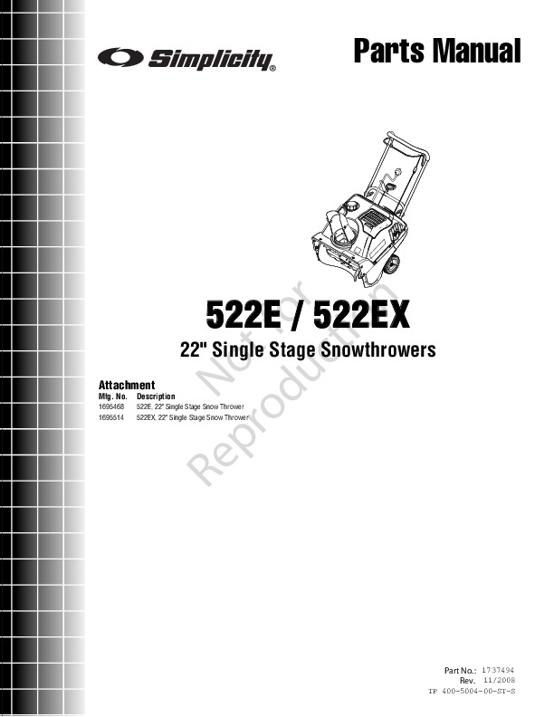 Simplicity 522E 522EX 1695468 169 5514 Snow Blower Owners