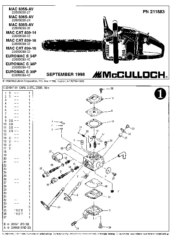 McCulloch Mac 835S 836S 838S 839 14 16 18 Euromac S 34P