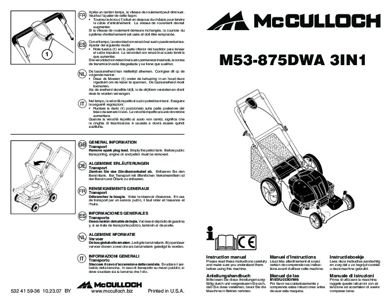 McCulloch M53 875 DWA 3IN1 Lawn Mower Owners Manual, 2009