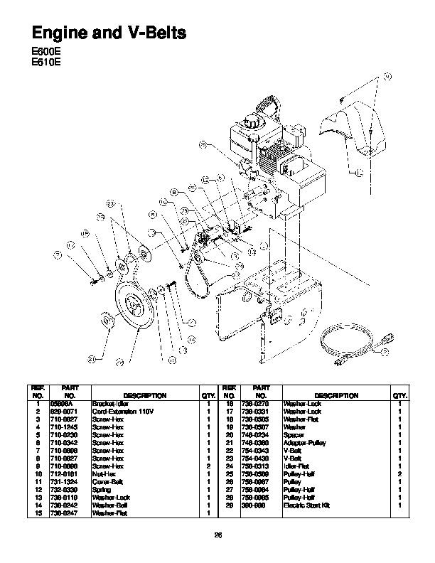 MTD Yard Machines E600E E610E E640F E660G Snow Blower