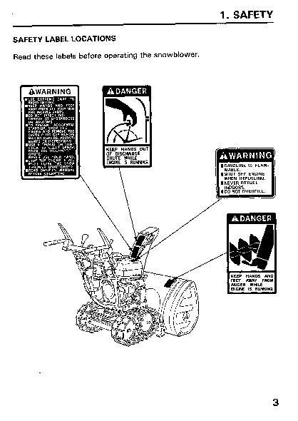 Honda HS828 Snow Blower Owners Manual