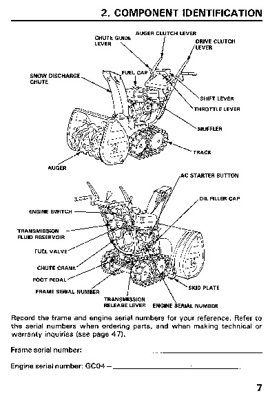 Honda HS828 Snow Blower Owners Manual