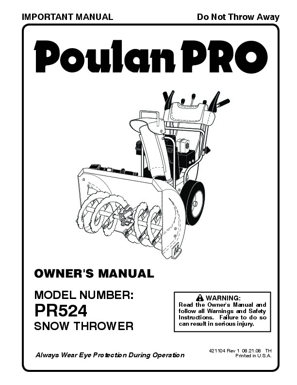 Poulan Pro PR524 421104 Snow Blower Owners Manual, 2008